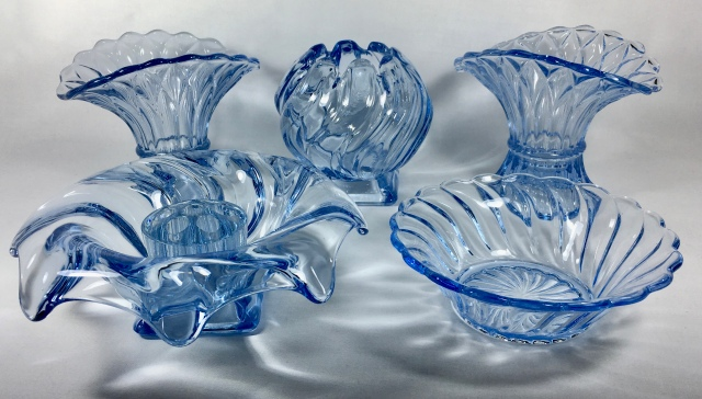 Selection of Bagley Glass in blue